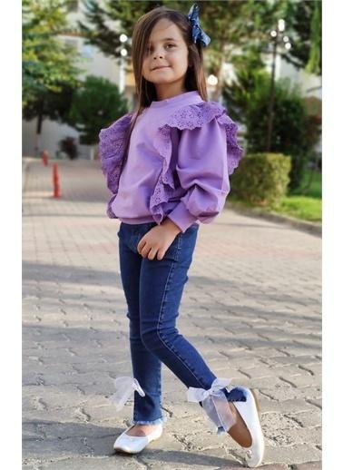 Riccotarz Kız Çocuk Üstü Güpürlü Pantolonlu Mor Alt Üst Takım Renkli